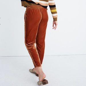 Madewell Velvet Vintage Gold Track Trousers